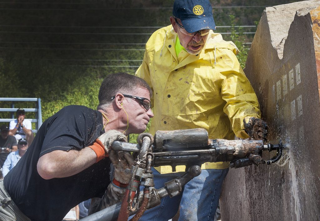 Matt Karst of Idaho drills to the title at the Park City Miners' Day 2016 Mucking and Drilling Competition. (Tom Kelly)