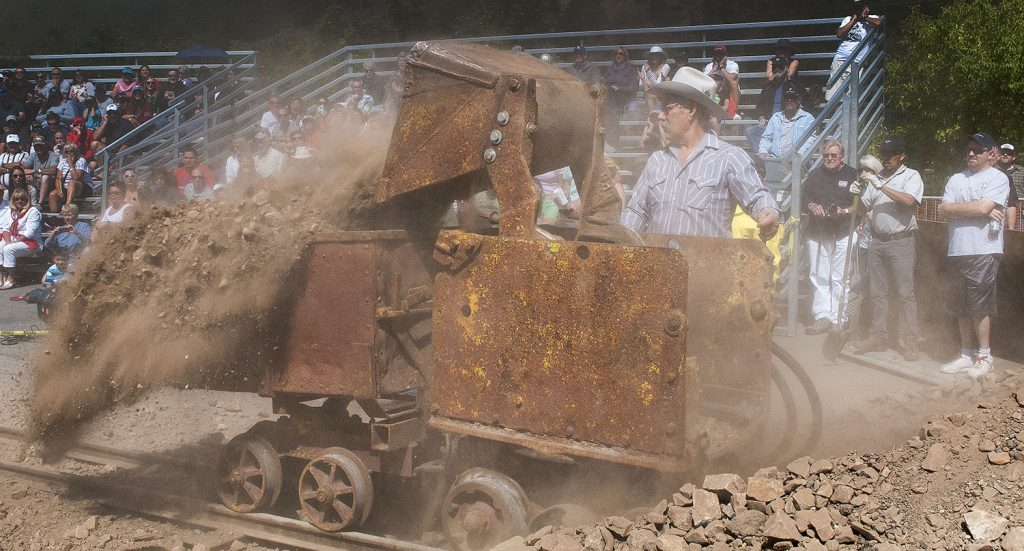 Remigio Portillo shows how it's done, winning the mucking competition at the Park City Miners' Day 2016 competition. (Tom Kelly)